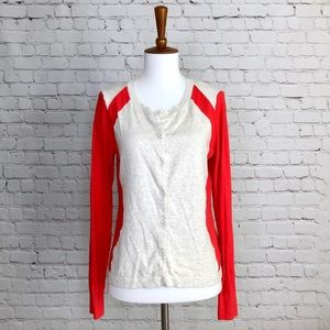 CAbi Hourglass Oatmeal Coral Knit Cardigan